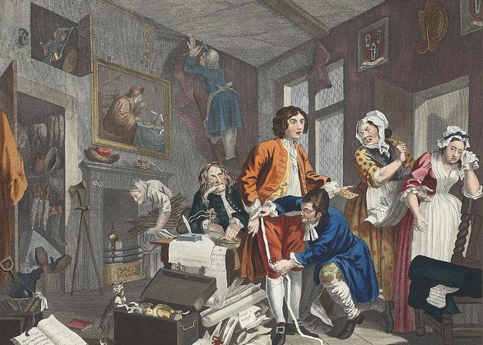 Inheritence Greeting Card featuring the drawing The Young Heir Takes Possession by William Hogarth