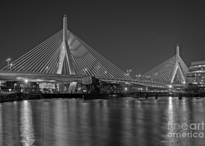 Boston Greeting Card featuring the photograph The Zakim Bridge Bw by Susan Candelario