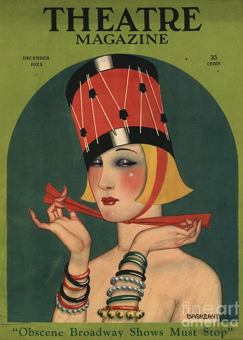 1920�s Greeting Card featuring the drawing Theatre 1923 1920s Usa Magazines Art by The Advertising Archives
