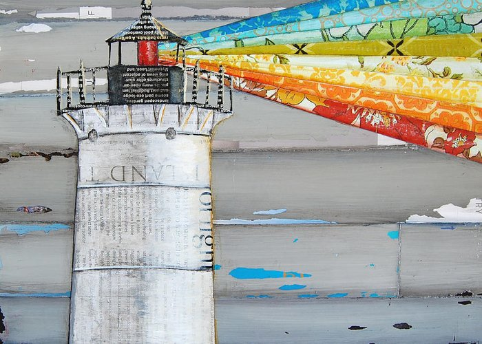 Maine Lighthouses Mixed Media Greeting Cards