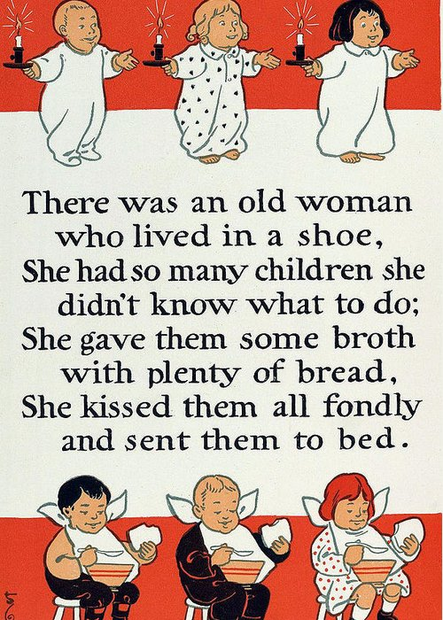 There Was An Old Women Who Lived In A Shoe Greeting Card featuring the digital art There Was An Old Women Who Lived In A Shoe by Mother Goose