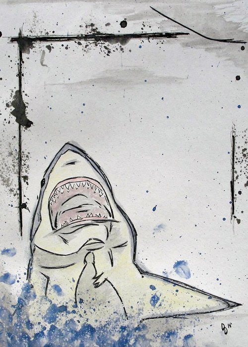 Shark Greeting Card featuring the mixed media There Will Be Blood by David DeMarco