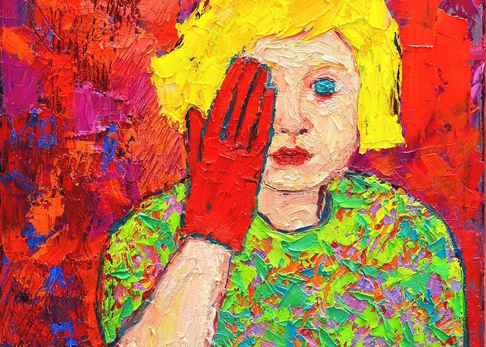 Girl Greeting Card featuring the painting There's No Comfort In The Truth by Ana Maria Edulescu
