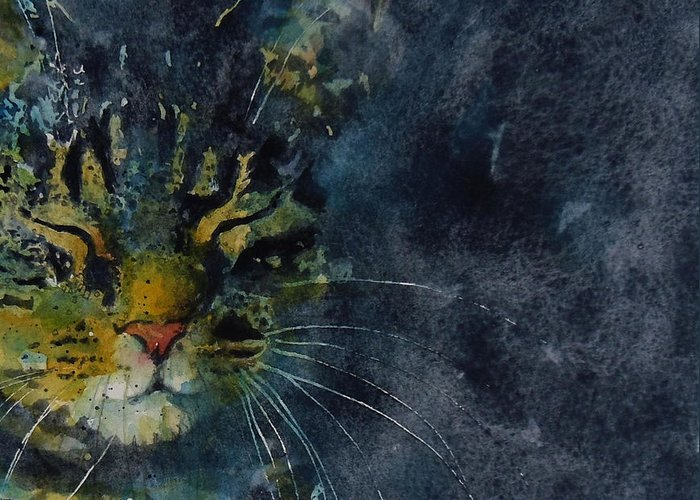 Tabby Greeting Card featuring the painting Thinking Of You by Paul Lovering