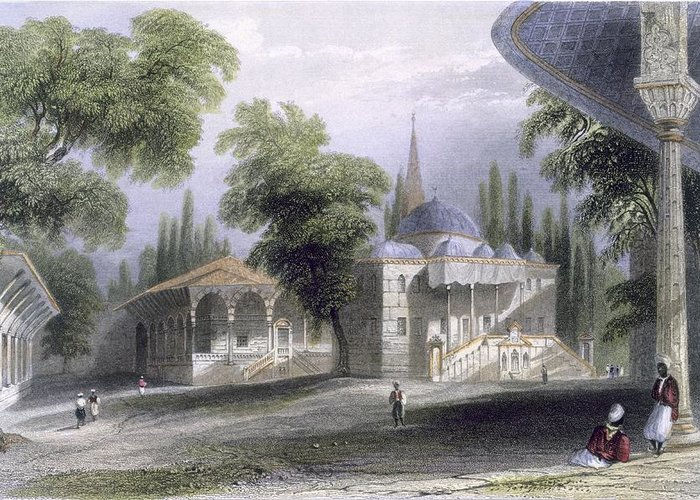 Third Greeting Card featuring the drawing Third Court Of The Serai Bournou, C.1850 by William Henry Bartlett