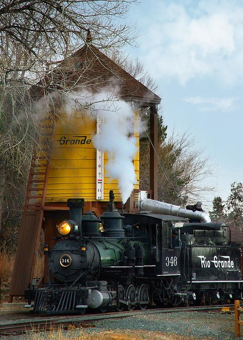 Steam Train Greeting Card featuring the photograph Thirsty by Ken Smith