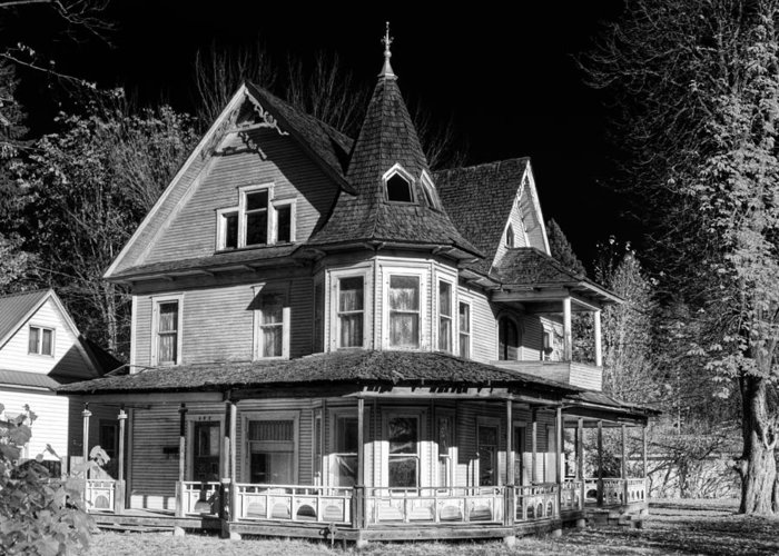 B&w Greeting Card featuring the photograph This Old House Version 2 by Lee Santa