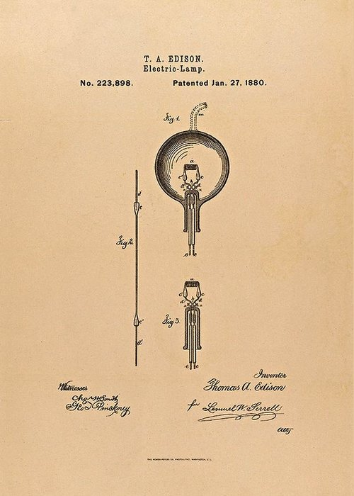 Light Bulb Greeting Card featuring the photograph Thomas Edison Patent Application For The Light Bulb by Movie Poster Prints