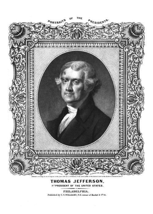 United States Greeting Card featuring the drawing Thomas Jefferson by Aged Pixel