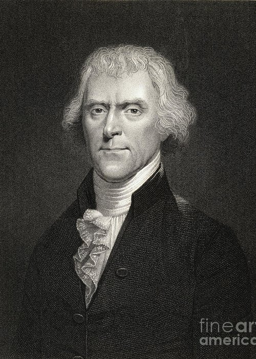 Thomas Jefferson Greeting Card featuring the drawing Thomas Jefferson by English School