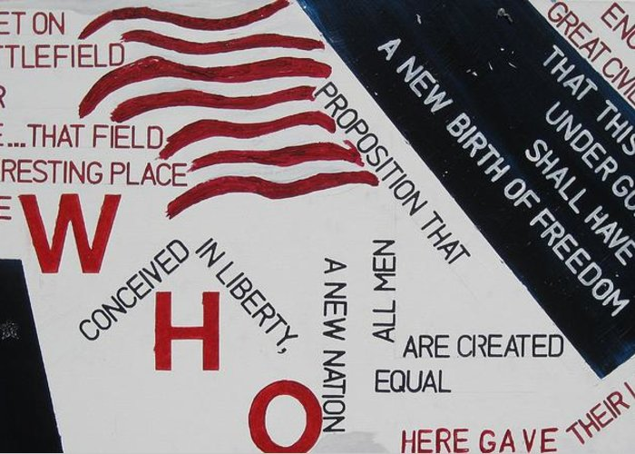 Flags Greeting Card featuring the painting Those Who Gave Their Lives by Lawrence Dugan