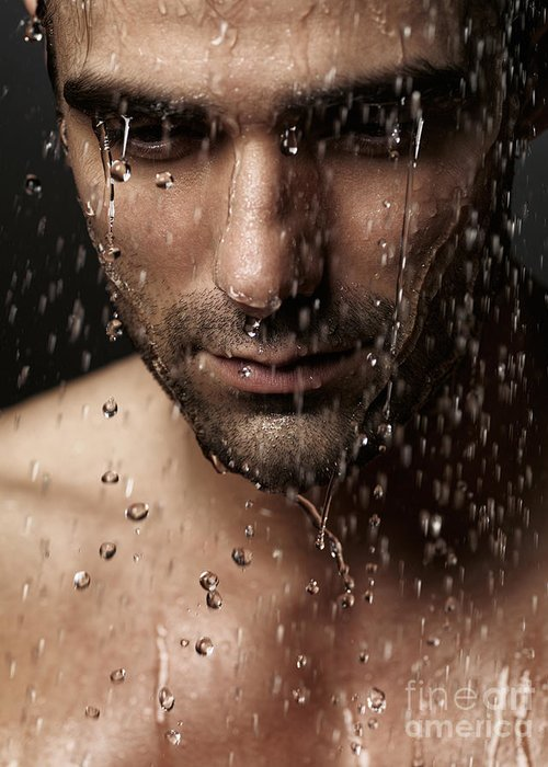 Man Greeting Card featuring the photograph Thoughtful Man Face Under Pouring Water by Oleksiy Maksymenko