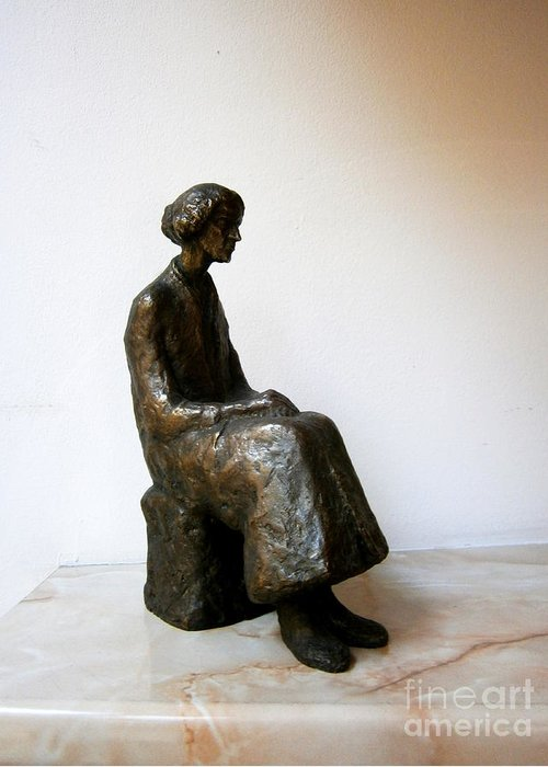 Thoughtful Greeting Card featuring the sculpture Thoughtful Woman by Nikola Litchkov