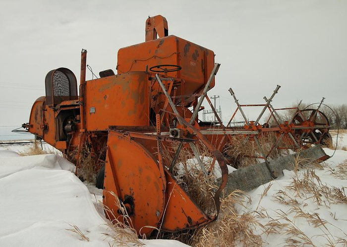 Tractors Greeting Card featuring the photograph Thrashing The Snow by Jeff Swan