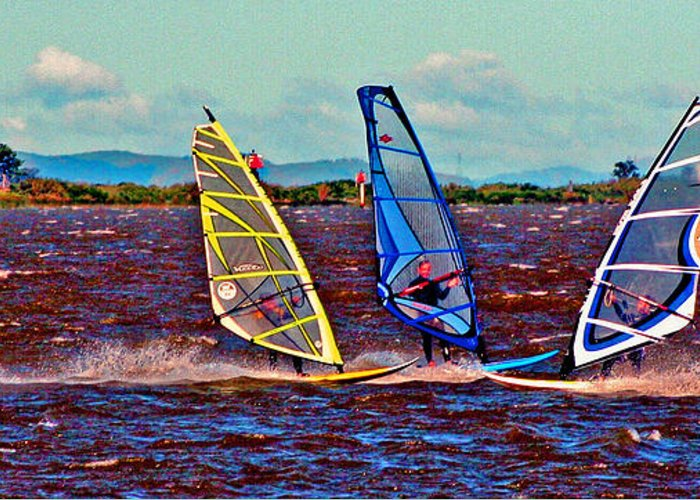Wind Surfing Greeting Card featuring the photograph Three Amigo Windsurfers by Joseph Coulombe