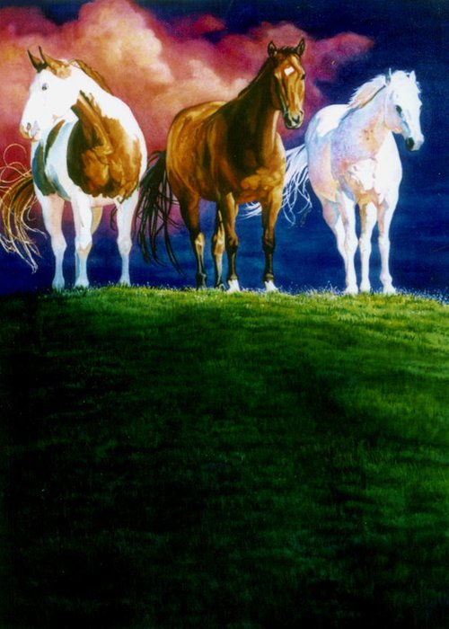 Painting Of Three Horses Greeting Card featuring the painting Three Amigos by Hanne Lore Koehler