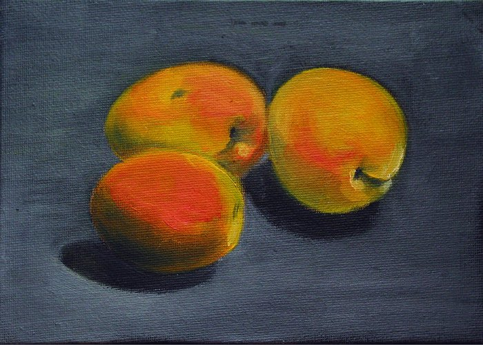 Food Greeting Card featuring the painting Three Apricots by Sarah Lynch