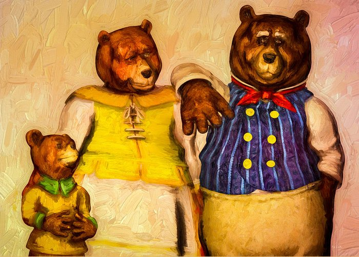 Bears Greeting Card featuring the painting Three Bears Family Portrait by Bob Orsillo