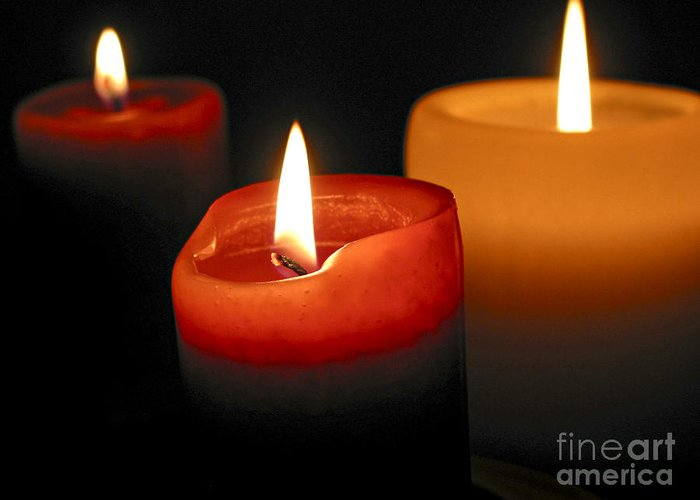 Candle Greeting Card featuring the photograph Three Burning Candles by Elena Elisseeva