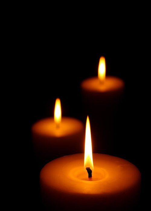 Candle Greeting Card featuring the photograph Three Burning Candles by Johan Swanepoel