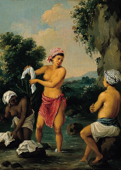 Agostino Brunias Greeting Card featuring the painting Three Caribbean Washerwomen By A River by Agostino Brunias