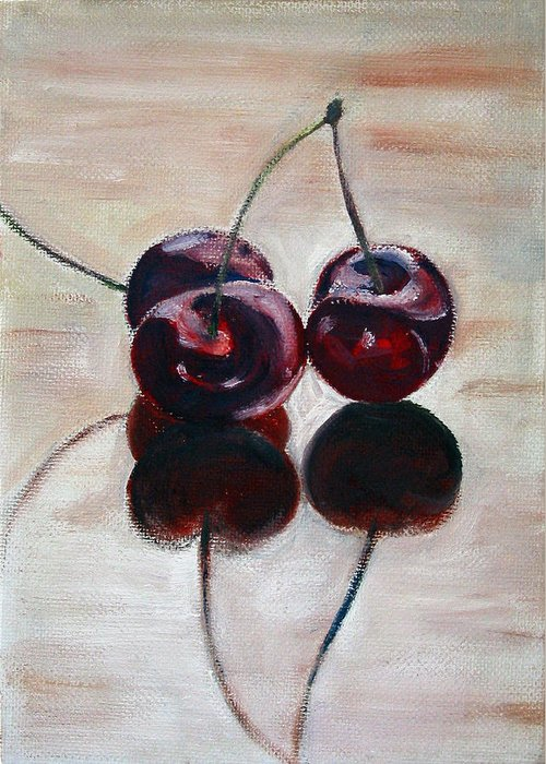 Food Greeting Card featuring the painting Three Cherries by Sarah Lynch
