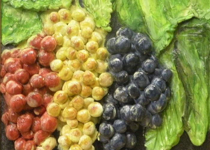 Grapes Greeting Card featuring the painting Three Colors Of Grapes by Lorrie T Dunks