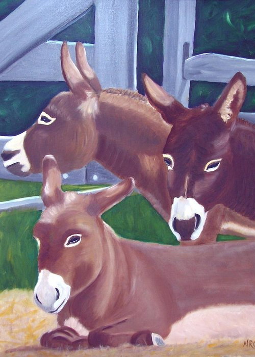 Donkey Greeting Card featuring the photograph Three Donkeys by Natalie Rotman Cote