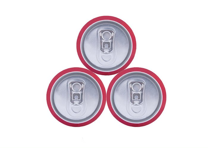 Cola Greeting Card featuring the photograph Three Drink Cans by Oscar Hurtado