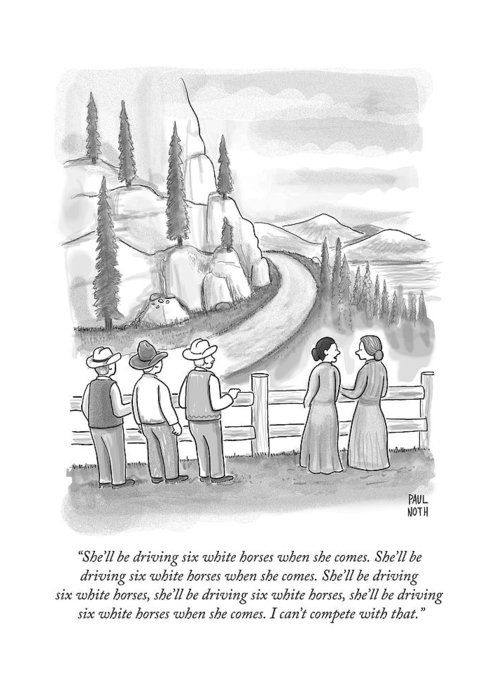 Songs Greeting Card featuring the drawing Three Frontiersmen And Two Women Watch A Mountain by Paul Noth