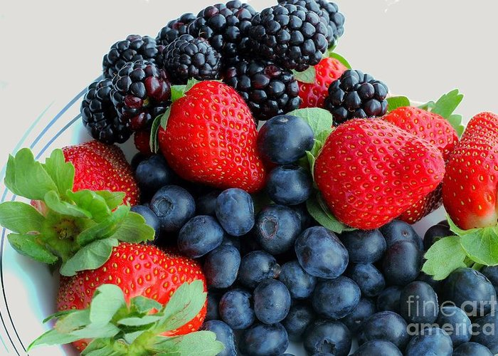 Three Fruit Strawberries Blueberries Blackberries Greeting Card featuring the photograph Three Fruit 2 - Strawberries - Blueberries - Blackberries by Barbara Griffin