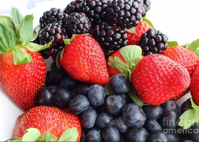 Three Fruit Closeup Greeting Card featuring the photograph Three Fruit Closeup - Strawberries - Blueberries - Blackberries by Barbara Griffin