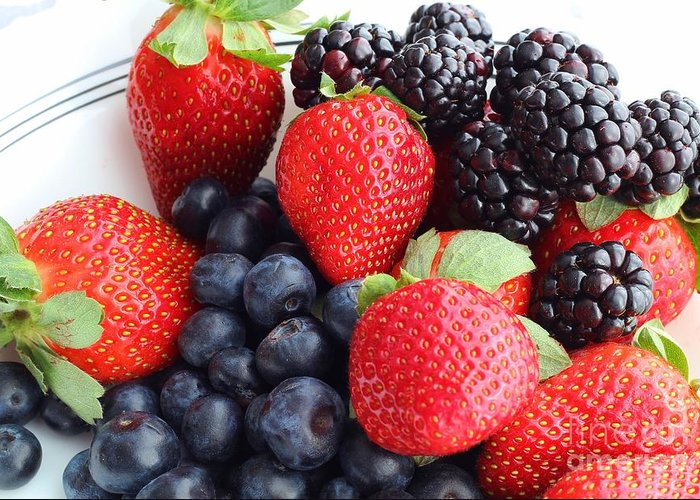 Three Fruit Greeting Card featuring the photograph Three Fruit - Strawberries - Blueberries - Blackberries by Barbara Griffin