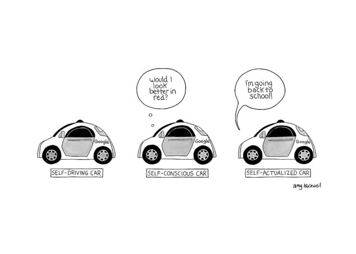 Three Google Cars Greeting Card