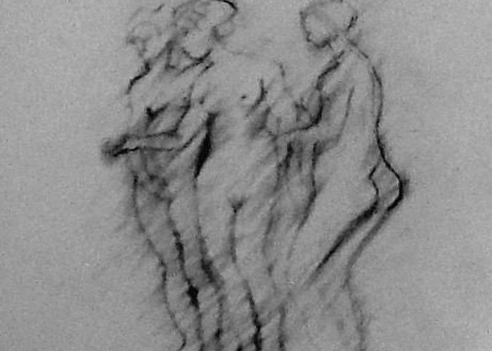 Pencil Greeting Card featuring the drawing Three Graces by Beena Khan