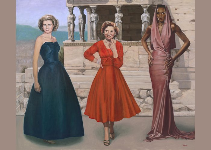Princess Grace Greeting Card featuring the painting Three Graces by Terry Guyer