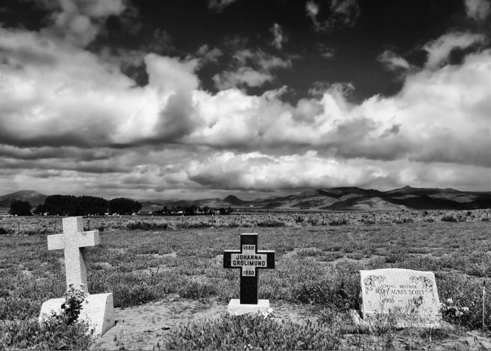 Headstones Greeting Card featuring the photograph Three Headstones by Mick Burkey
