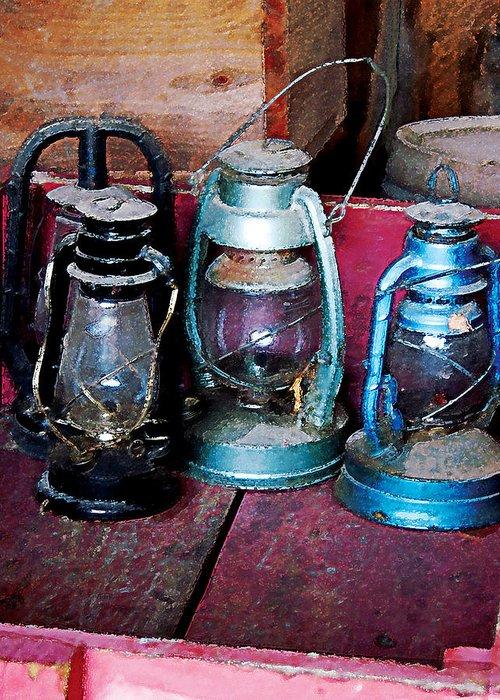 Lamp Greeting Card featuring the photograph Three Kerosene Lamps by Susan Savad
