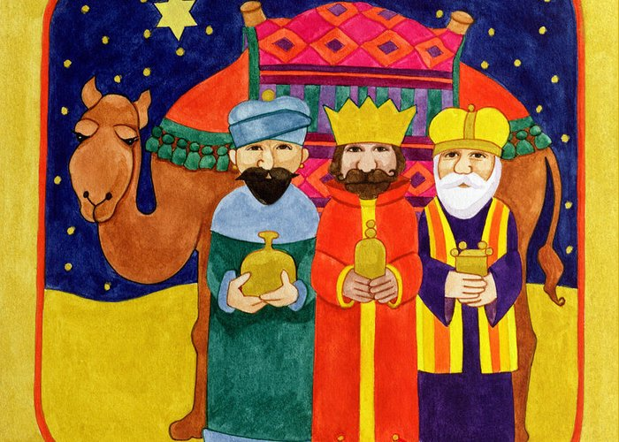Christmas; Dromedary; Star Of Bethlehem; David; Wise Men; Bearing Gifts; Gift; Beard; Bearded; Star; Starry; Sky; Night; King Greeting Card featuring the painting Three Kings And Camel by Linda Benton