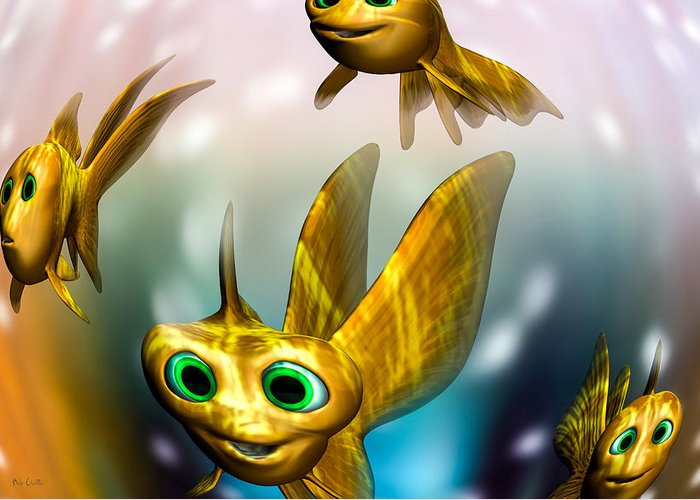 Three Little Fishies And A Mama Fishie Too Greeting Card featuring the digital art Three Little Fishies And A Mama Fishie Too by Bob Orsillo