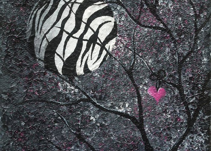 Surreal Greeting Card featuring the painting Three Moons Series - Zebra Moon by Oddball Art Co by Lizzy Love