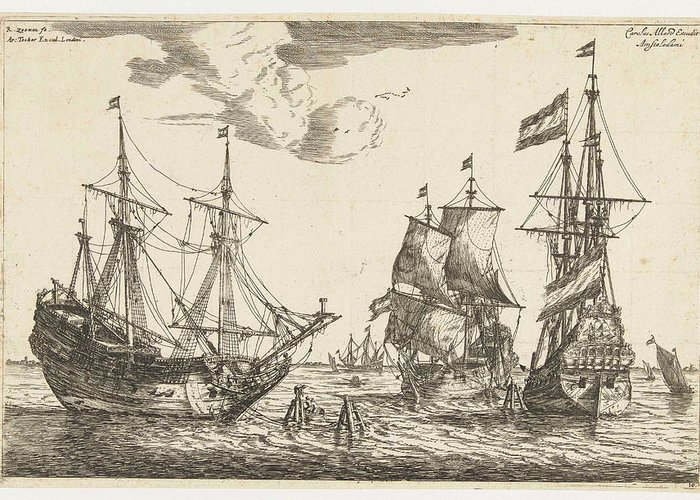 Sailing-ship Greeting Card featuring the drawing Three Moored Sailboats, Reinier Nooms by Reinier Nooms