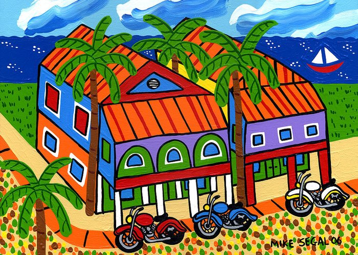 Motorcycle Greeting Card featuring the painting Three Motorcycles At Cedar Key by Mike Segal