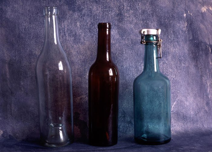 Empty Greeting Card featuring the photograph Three Old Empty Bottles On Painted Background by IB Photo