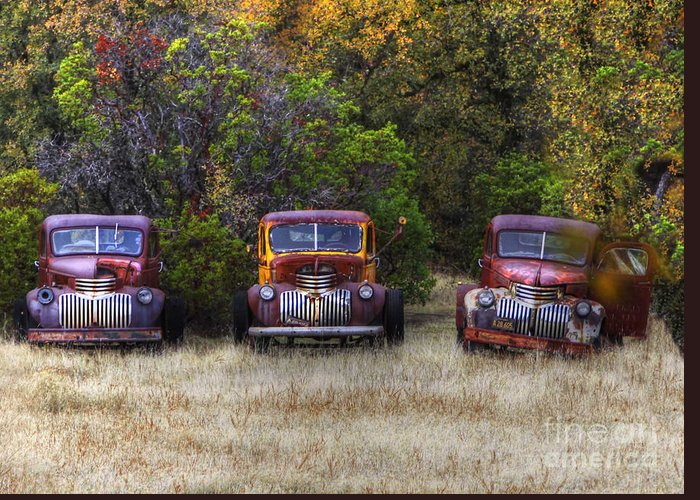Trucks Photos Greeting Card featuring the photograph Three Old Friends by Kandy Hurley