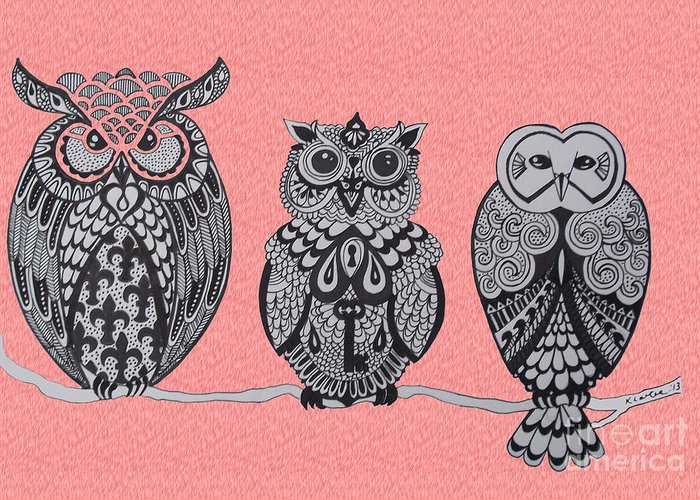 Owls Greeting Card featuring the drawing Three Owls On A Branch Pink by Karen Larter