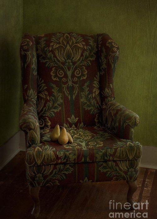 Chair Greeting Card featuring the photograph Three Pears Sitting In A Wing Chair by Priska Wettstein
