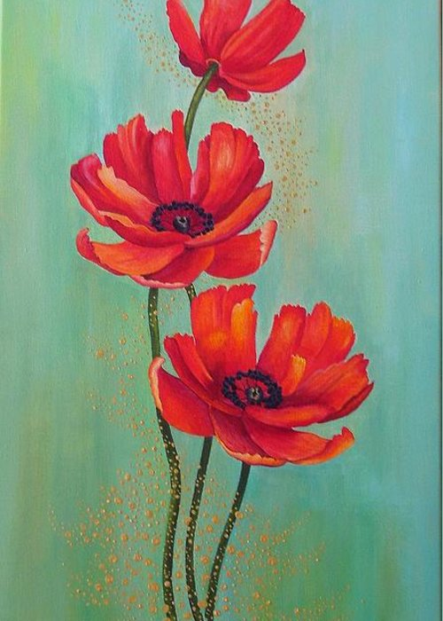 Flowers Greeting Card featuring the painting Three Red Poppies With Pixie Dust by Carol Sabo