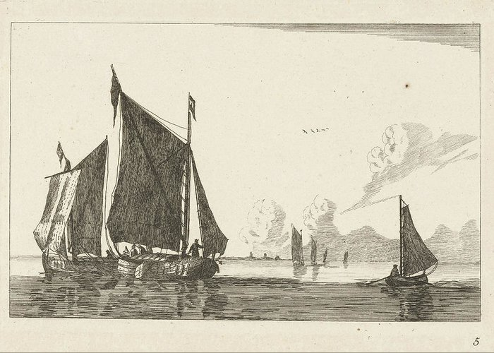 Sailing-ship Greeting Card featuring the drawing Three Sailboats In Calm Water, Print Maker Anonymous by Anonymous And Reinier Nooms And Ch?reau