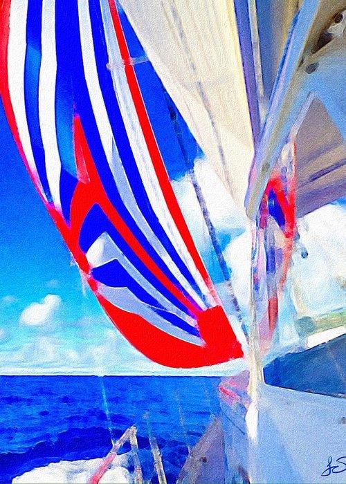 Sail Greeting Card featuring the digital art Three Sheets Sailing by Jennifer Simpson